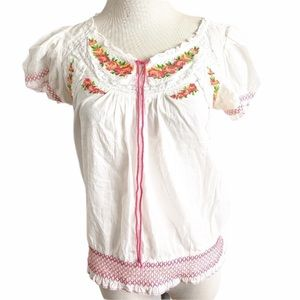 IVY JANE Cross Stitch White Embroidery Floral Top